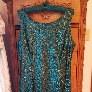 Studio One Green Sequin Cocktail Sheath Sz 14